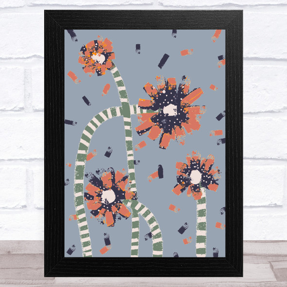 Hand Drawn Abstract Flowers Coral Blue Wall Art Print
