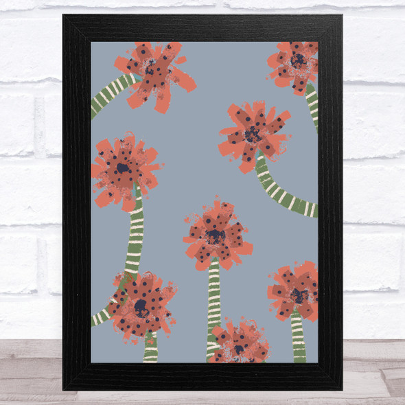 Hand Drawn Abstract Flowers Pink Green Wall Art Print