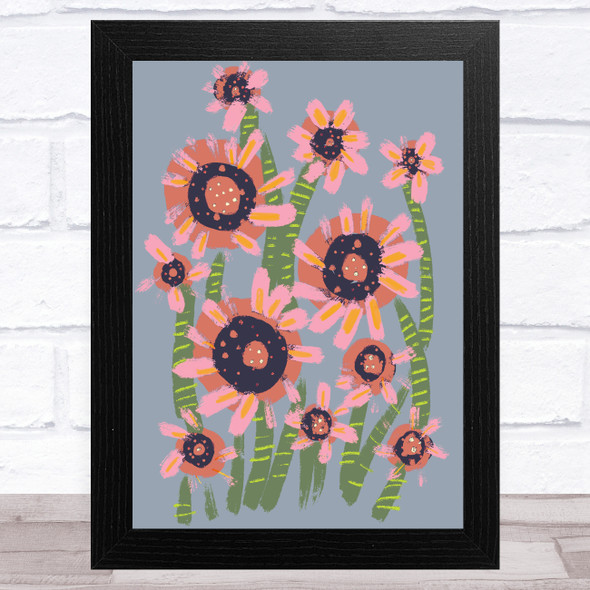 Hand Drawn Pink Green Abstract Flowers Wall Art Print