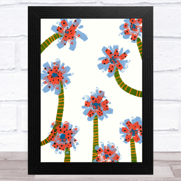 Hand Drawn Abstract Flowers Pink Blue Wall Art Print