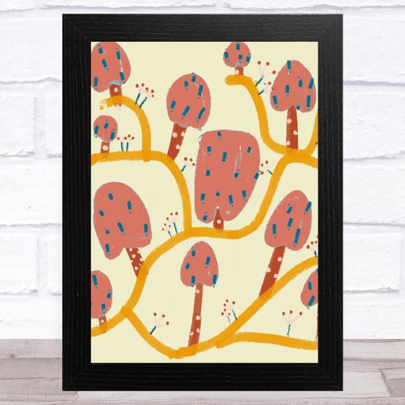 Hand Drawn Pink Abstract Trees Wall Art Print