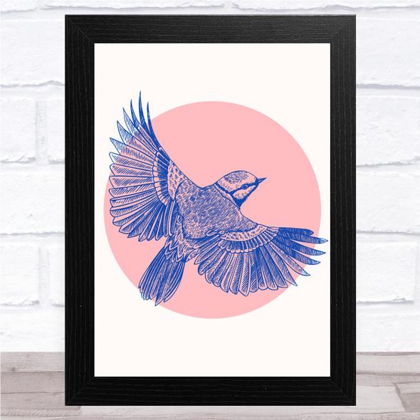 Blue Bird In Peach Circle Wall Art Print