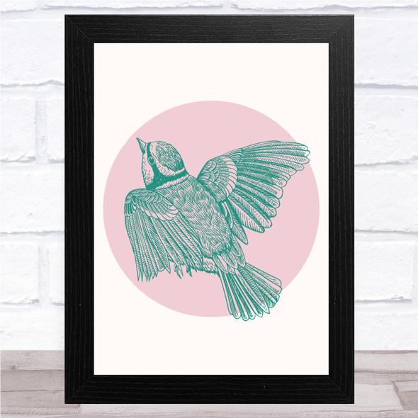 Green Bird In Pink Circle Wall Art Print