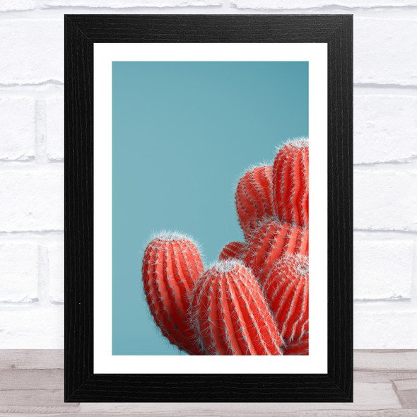 Red Cactus On Blue Background Wall Art Print