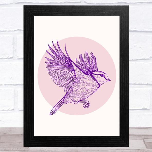 Purple Bird In Pink Circle Wall Art Print