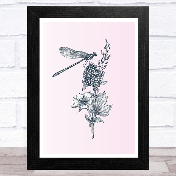 Wildflowers And Dragonfly Wall Art Print