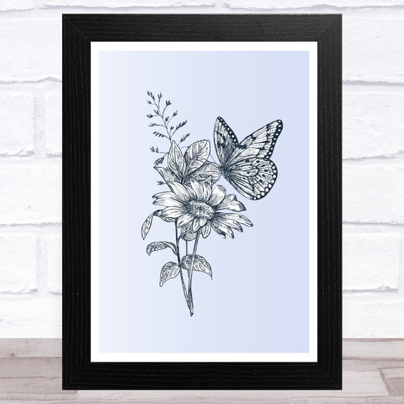 Wildflowers And Butterfly Wall Art Print