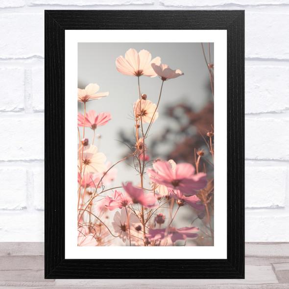 Pink Grey Pretty Poppy Wall Art Print