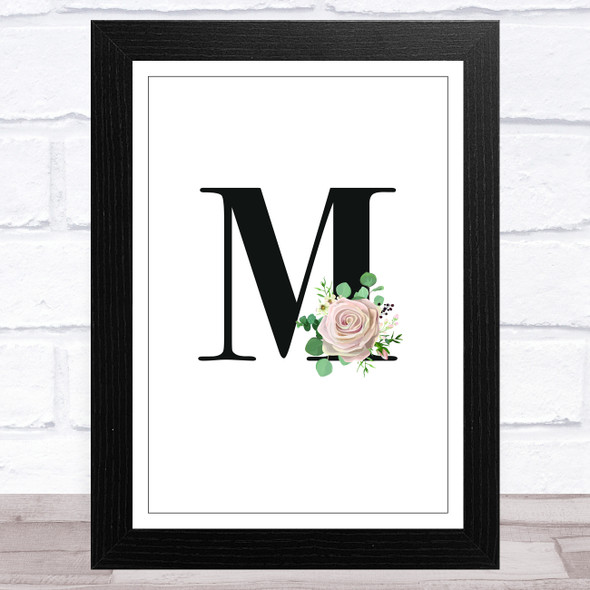 Initial Letter M With Flowers Wall Art Print