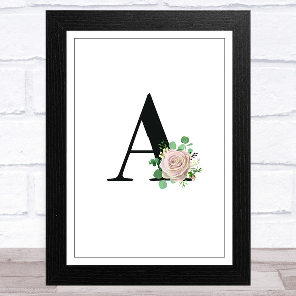 Initial Letter A With Flowers Wall Art Print