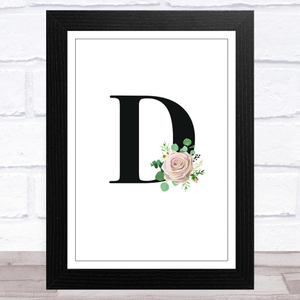 Initial Letter D With Flowers Wall Art Print