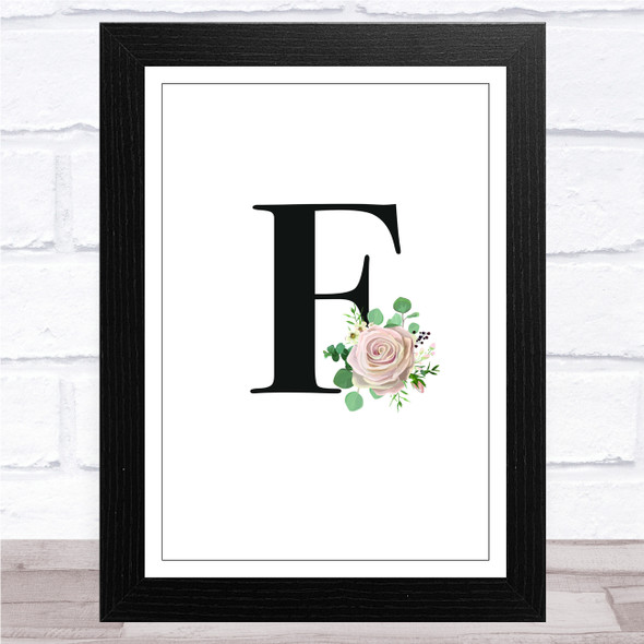 Initial Letter F With Flowers Wall Art Print