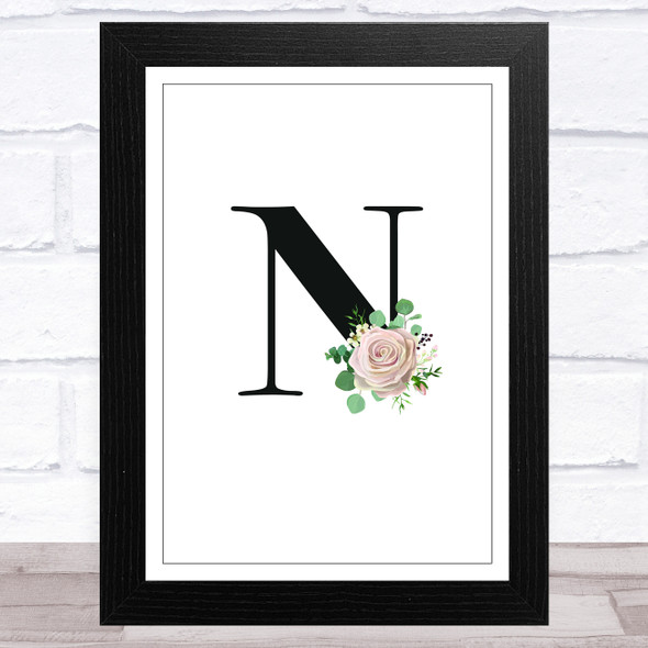 Initial Letter N With Flowers Wall Art Print