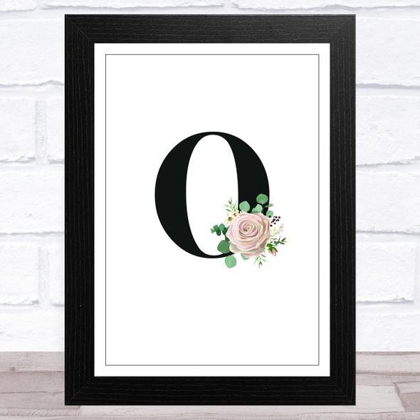 Initial Letter O With Flowers Wall Art Print