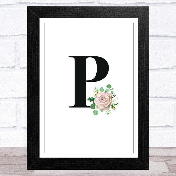 Initial Letter P With Flowers Wall Art Print