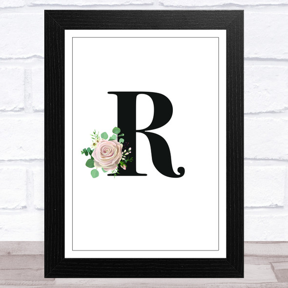 Initial Letter R With Flowers Wall Art Print