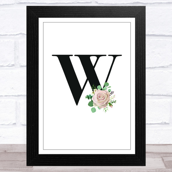 Initial Letter W With Flowers Wall Art Print