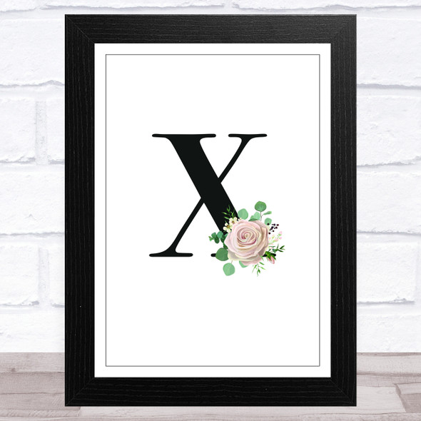 Initial Letter X With Flowers Wall Art Print