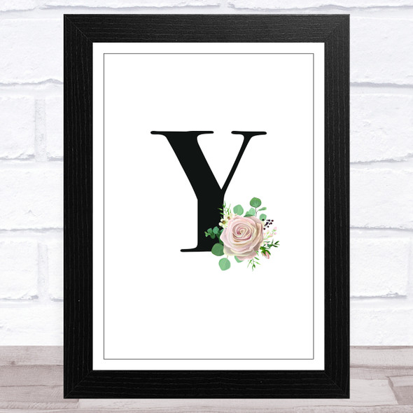 Initial Letter Y With Flowers Wall Art Print