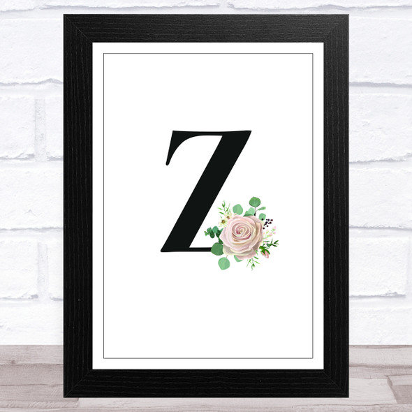 Initial Letter Z With Flowers Wall Art Print