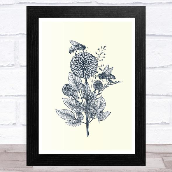 Wildflowers And Bee Wall Art Print