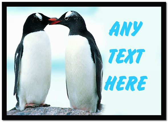 Kissing Penguins Personalised Computer Mousemat