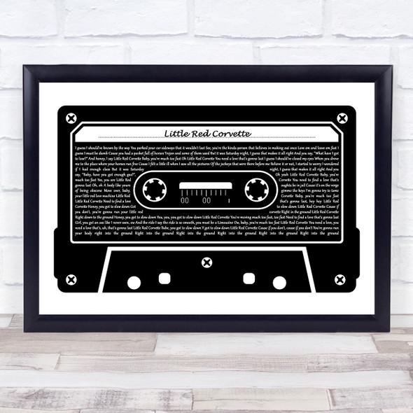 Prince Little Red Corvette Black & White Music Cassette Tape Song Lyric Music Art Print