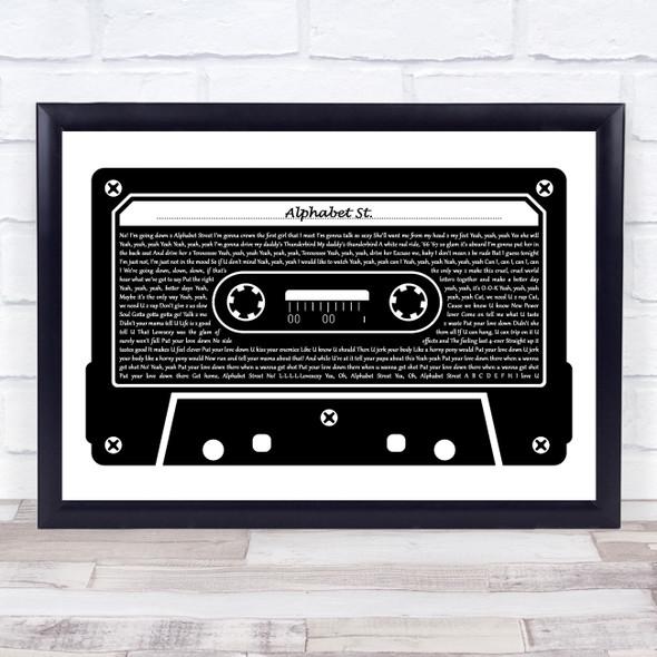 Prince Alphabet St. Black & White Music Cassette Tape Song Lyric Music Art Print
