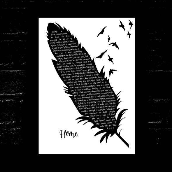 One Direction Home Black & White Feather & Birds Song Lyric Music Art Print