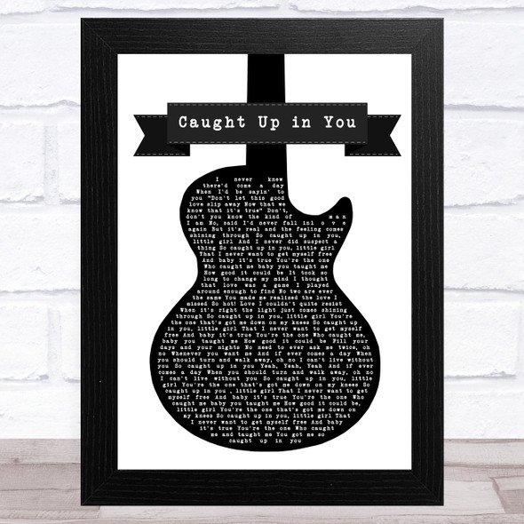 38 Special Caught Up in You Black & White Guitar Song Lyric Music Art Print