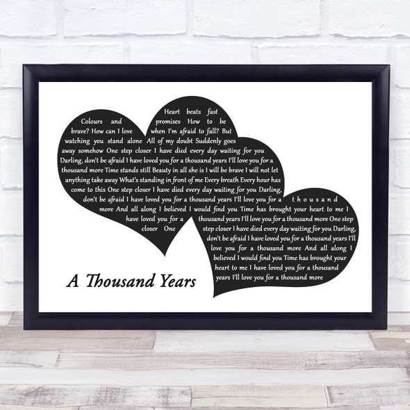 Christina Perri A Thousand Years Landscape Black & White Two Hearts Song Lyric Music Art Print