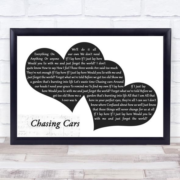Snow Patrol Chasing Cars Landscape Black & White Two Hearts Song Lyric Music Art Print