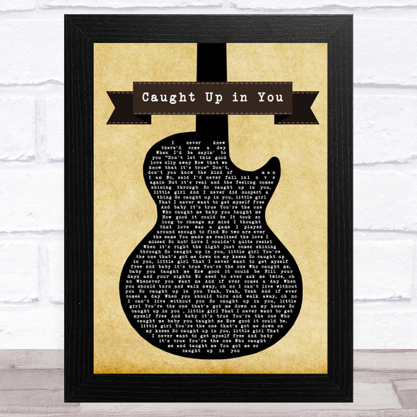 38 Special Caught Up in You Black Guitar Song Lyric Music Art Print