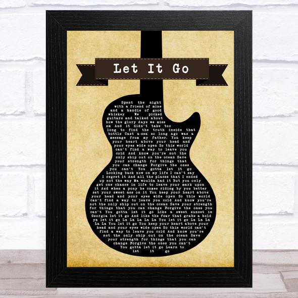 Zac Brown Band Let It Go Black Guitar Song Lyric Music Art Print