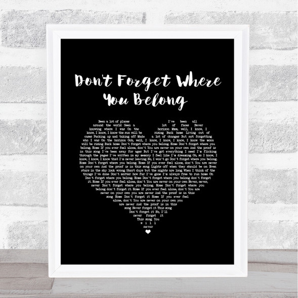 One Direction Don't Forget Where You Belong Black Heart Song Lyric Music Art Print