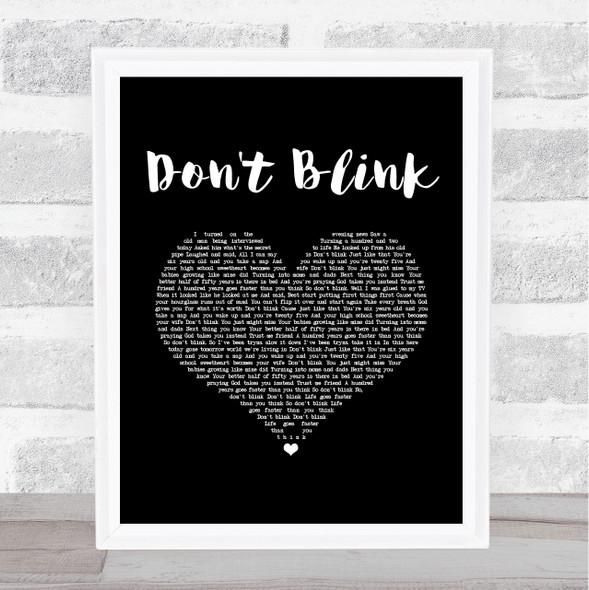 Kenny Chesney Don't Blink Black Heart Song Lyric Music Art Print