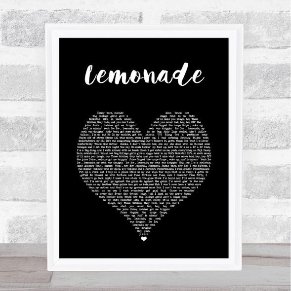 Internet Money Lemonade Black Heart Song Lyric Music Art Print
