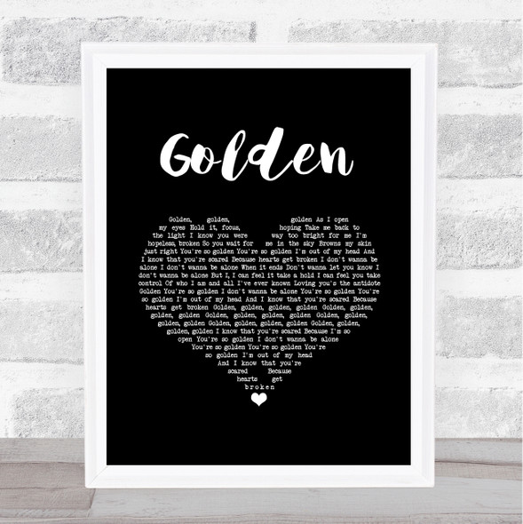 Harry Styles Golden Black Heart Song Lyric Music Art Print