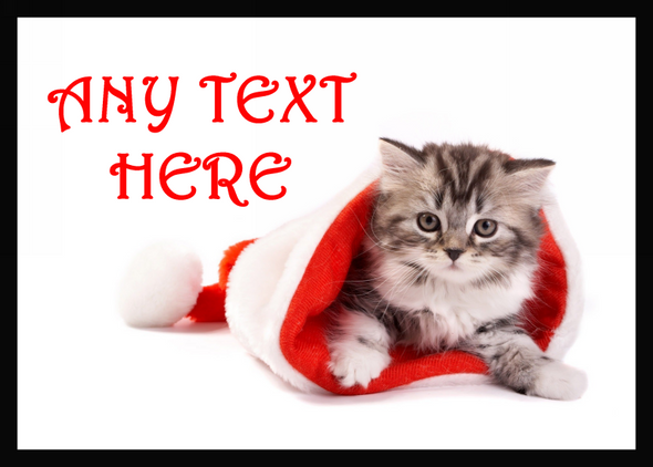 Fluffy Cat Christmas Personalised Computer Mousemat
