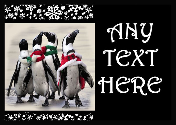 Funny Penguins Christmas Personalised Computer Mousemat