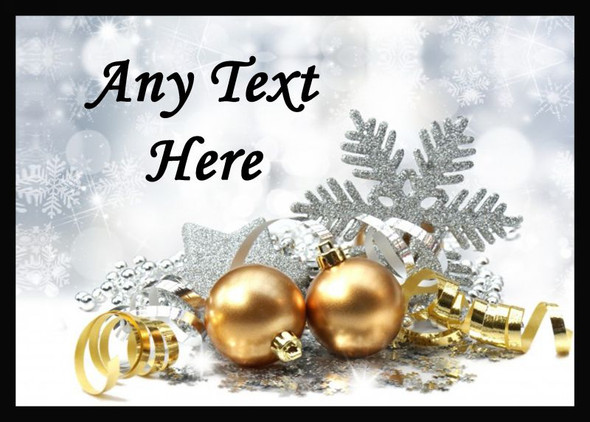 Gold Baubles Christmas Personalised Computer Mousemat