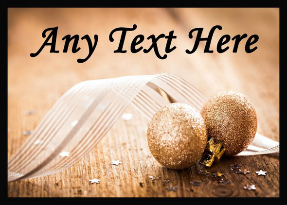 Gold Glitter Ball Christmas Personalised Computer Mousemat