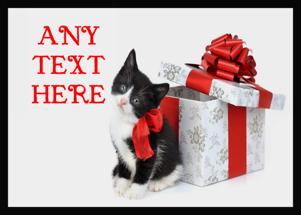 Black And White Cute Kitten Christmas Personalised Computer Mousemat