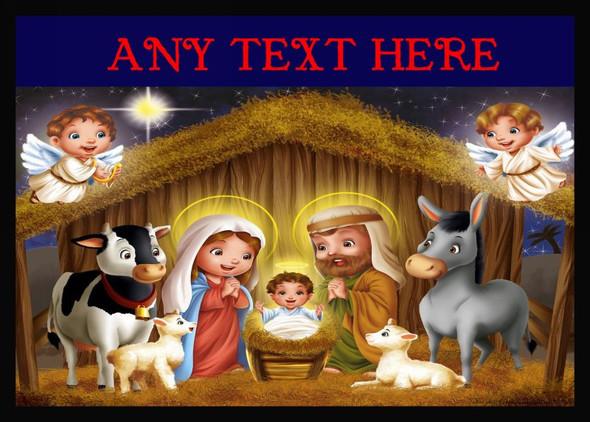Nativity Scene Christmas Personalised Computer Mousemat