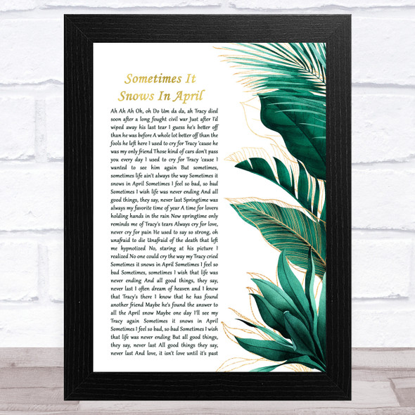 Prince Sometimes It Snows In April Gold Green Botanical Leaves Side Script Song Lyric Music Art Print