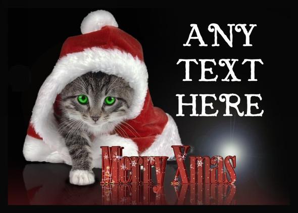 Santa Cat Christmas Personalised Computer Mousemat