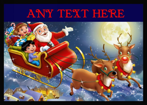 Santa In His Sleigh Christmas Personalised Computer Mousemat