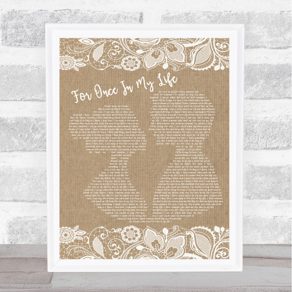 Stevie Wonder For Once In My Life Burlap & Lace Song Lyric Music Art Print