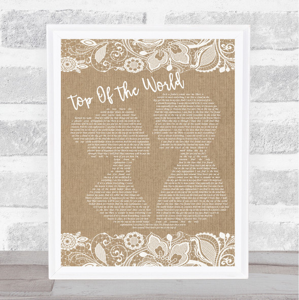 The Carpenters Top Of The World Burlap & Lace Song Lyric Music Art Print