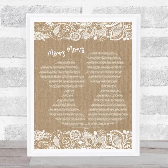 Billy Idol Mony Mony Burlap & Lace Song Lyric Music Art Print
